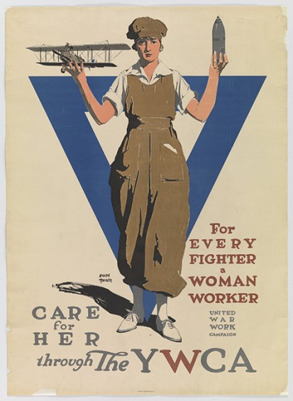 "Adolph Treidler, cartel ""For Every Fighter a Woman Worker. Care For Her Through the YWCA"", ca. 1918."