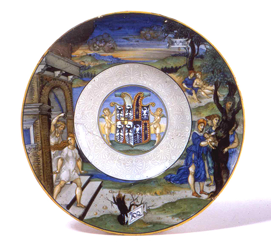 """Plato de mayólica con """"Adonis y Mirra"""", siglo XVI"""