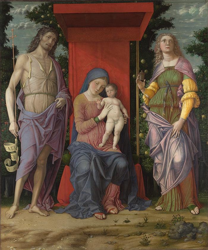 """Andrea Mantegna, """"La Virgen con el Niño y santos"""", probablemente 1490-1505, temple sobre lienzo."""