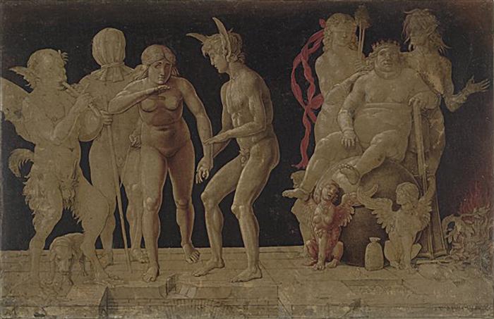 "Andrea Mantegna, ""Virtus Combusta"", ca. 1490, dibujo."