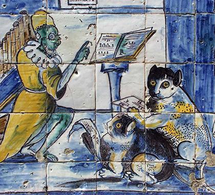 Azulejos con concierto de monos y gatos (detalle), hacia 1670.