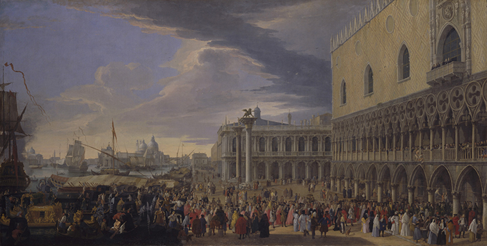 """Luca Carlevarijs, """"El recibimiento del embajador británico Charles Montagu, 4º conde de Manchester, en el Palacio del Dux"""", ca. 1707-1708."""