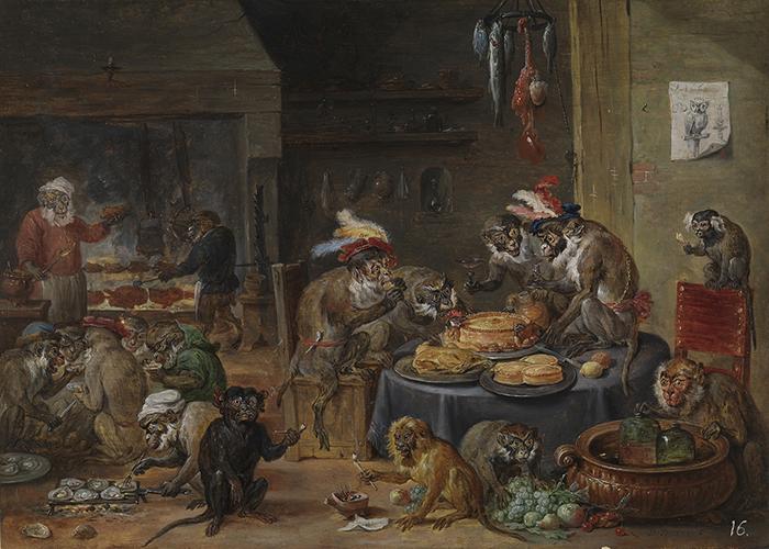 """David Teniers el Joven, """"Banquete de monos"""", 1660."""