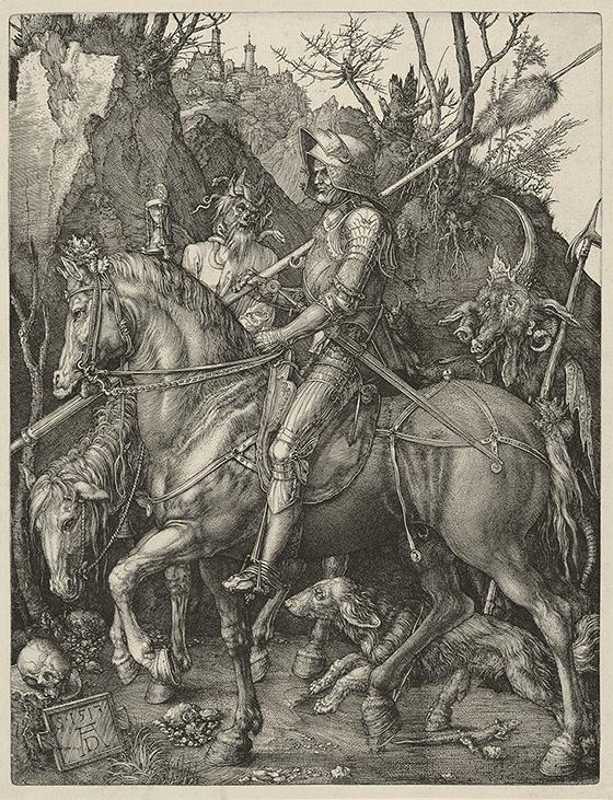 """Alberto Durero, """"El caballero, la muerte y el diablo"""", 1513."""