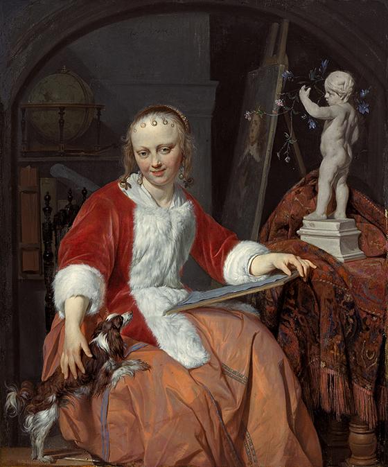 """Gabriel Metsu, """"Una mujer artista"""" o """"Le Corset rouge"""", ca. 1661-1664."""