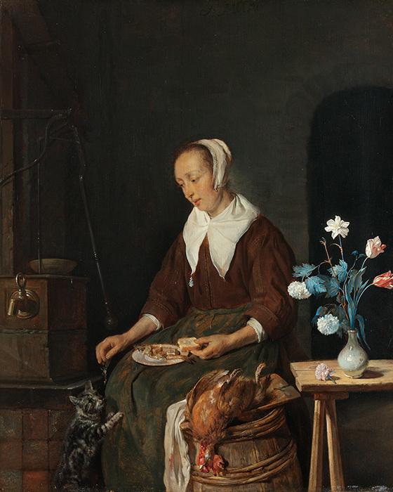 """Gabriel Metsu, """"El desayuno del gato"""", ca. 1662-1665."""