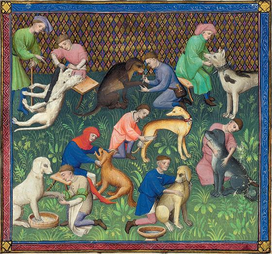 """""""El cuidado de los perros"""", ca. 1407, ilustración de la obra de Gaston Fébus """"Le Livre de la chasse"""", 1387-1389."""