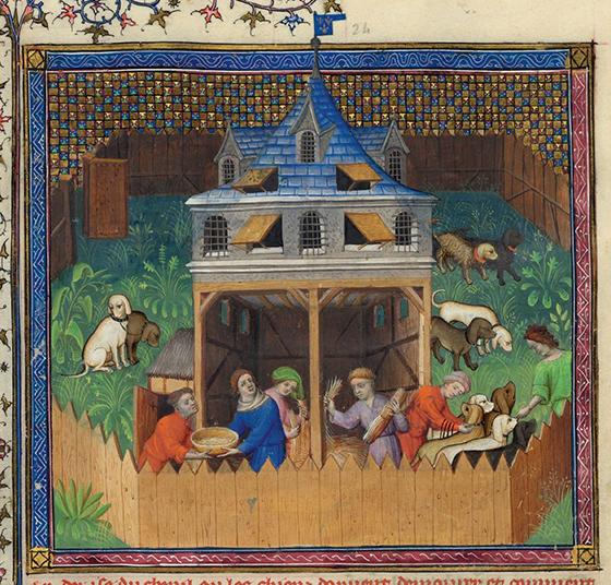 """""""La perrera"""", ca. 1407, ilustración de la obra de Gaston Fébus """"Le Livre de la chasse"""", 1387-1389."""