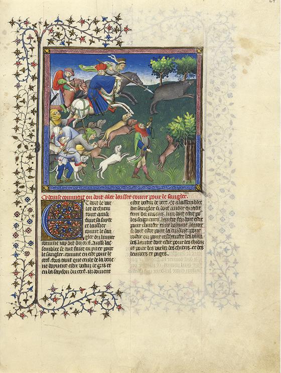"""La caza del jabalí"", ca. 1407, ilustración de la obra de Gaston Fébus ""Le Livre de la chasse"", 1387-1389."