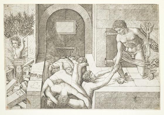 "Giovanni Antonio da Brescia, ""Virtus Deserta"", según Andrea Mantegna, 1500-1505, grabado."