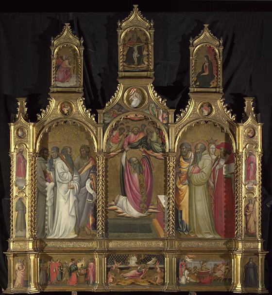 """Giovanni dal Ponte, """"Retablo de la ascensión de san Juan Evangelista"""", ca. 1420-1424(?), temple sobre madera."""