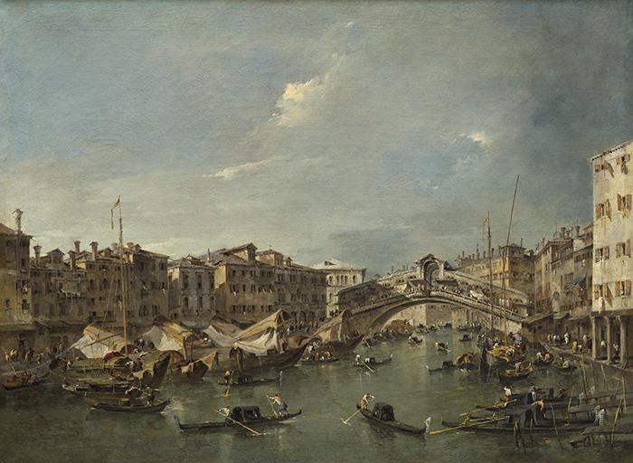 """Francesco Guardi, """"El Gran Canal con el Puente de Rialto visto desde el sur"""", ca. 1780."""