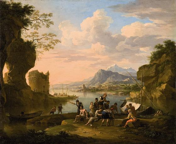 "Jacob de Heusch, ""Paisaje fluvial con torre""."