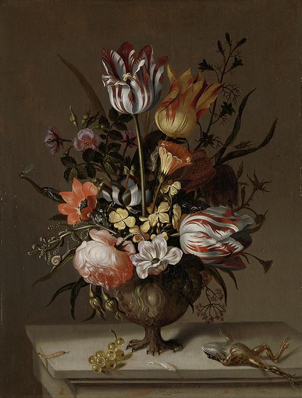 """Jacob Marrel, """"Bodegón con jarrón de flores y una rana muerta"""", 1634."""
