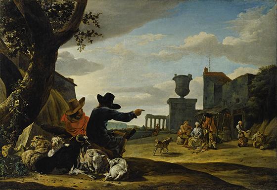 """Jan Baptist Weenix, """"Paisaje con ruinas y taberna""""."""