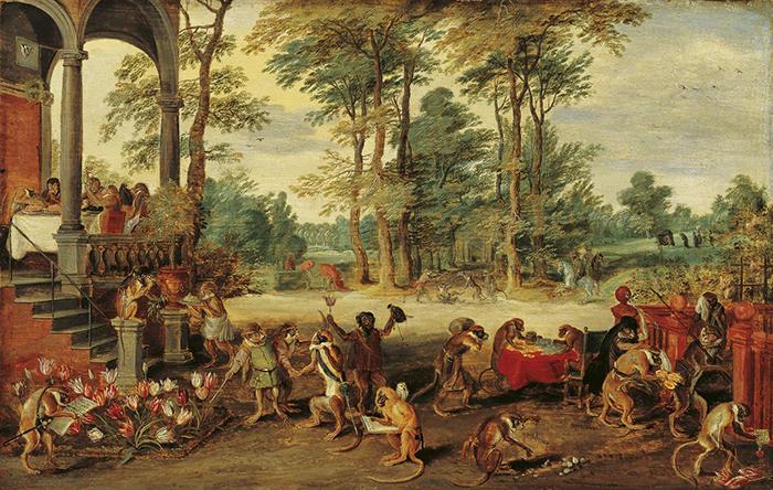 """Jan Brueghel el Joven, """"Sátira de la obsesión por los tulipanes"""", ca. 1640."""
