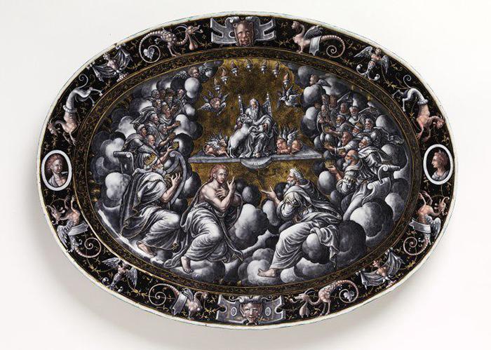 """Jean Court, fuente con """"La visión de San Juan"""", 1560-1580, esmalte sobre cobre, pintado en grisalla y dorado."""