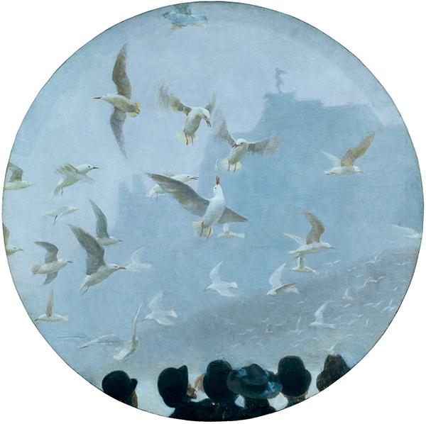"""Julius von Ehren, """"Gaviotas en el lago Alster"""", ca. 1908."""