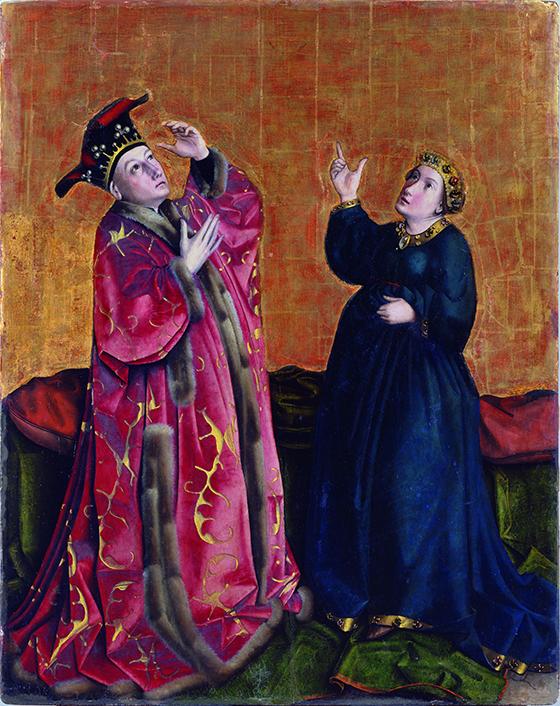 """Konrad Witz, """"El emperador Augusto y la sibila de Tibur"""", ca. 1435, pintura sobre tabla."""
