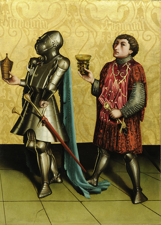 """Konrad Witz, """"Los héroes Sibecai y Benaía"""", ca. 1435, pintura sobre tabla."""