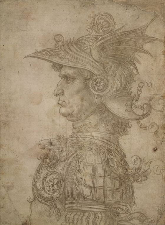 "Leonardo da Vinci, ""Cabeza de un guerrero"", ca. 1475-1480."