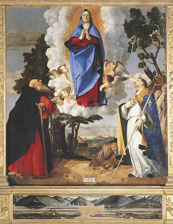 """Lorenzo Lotto, """"La Virgen asumpta entre san Antonio Abad y san Luis de Tolosa"""", 1506, pintura."""