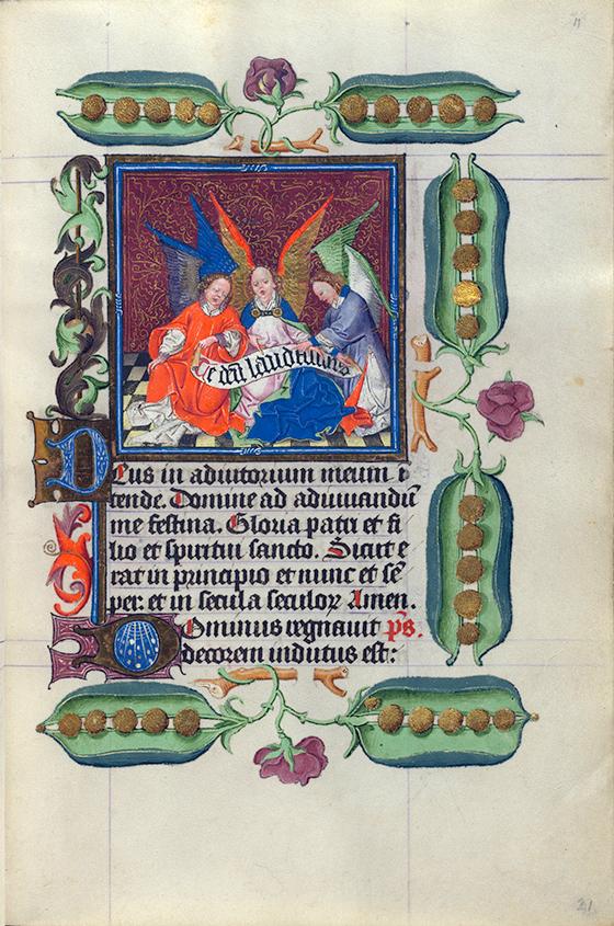 """Maestro de Catalina de Cleves, """"Ángeles cantando"""", miniatura del """"Libro de Horas de Catalina de Cleves"""", ca. 1440, Utrecht."""