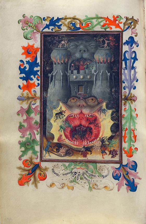 """Maestro de Catalina de Cleves, """"La boca del infierno"""", miniatura del """"Libro de Horas de Catalina de Cleves"""", ca. 1440, Utrecht."""