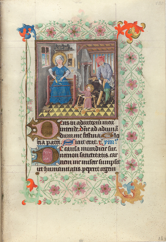 """Maestro de Catalina de Cleves, """"La Sagrada Familia en sus labores"""", miniatura del """"Libro de Horas de Catalina de Cleves"""", ca. 1440, Utrecht."""