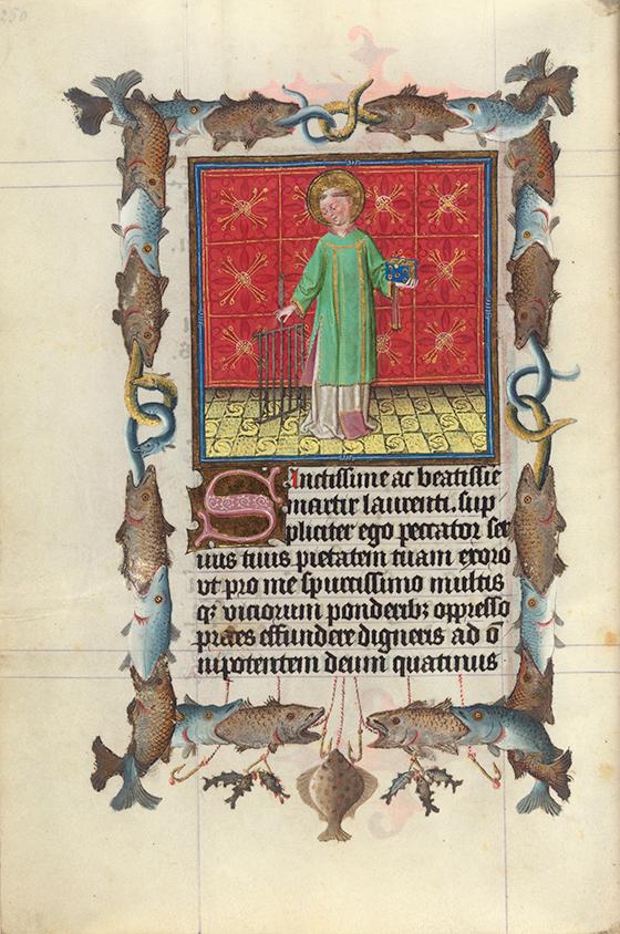 """Maestro de Catalina de Cleves, """"San Lorenzo"""", miniatura del """"Libro de Horas de Catalina de Cleves"""", ca. 1440, Utrecht."""