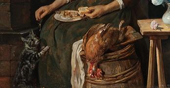 """Gabriel Metsu, """"El desayuno del gato"""" (detalle), ca. 1662-1665."""