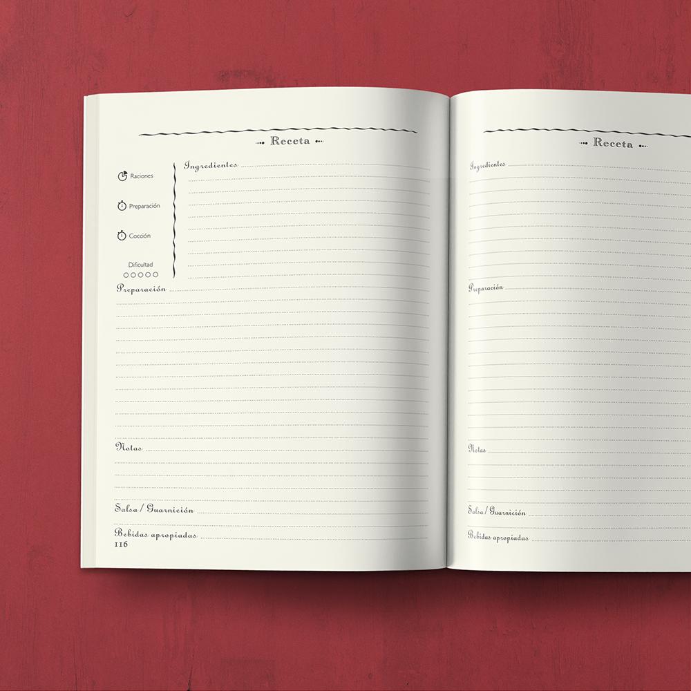 Mi Libro de Cocina : Recetario con secciones personalizables - by MAGOT Books - abierto