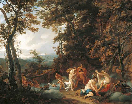 """Nicolas Berchem, """"Paisaje boscoso con el juicio de Paris""""."""