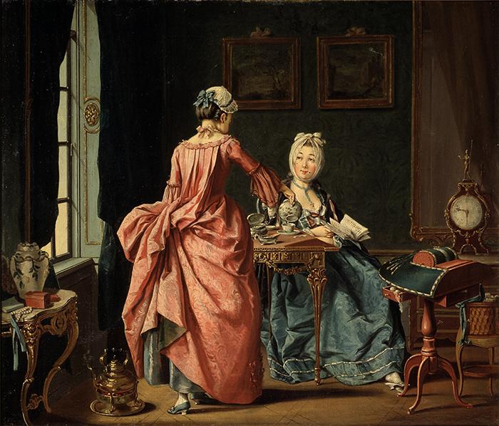 """Pehr Hilleström, """"Dama leyendo y doncella sirviendo el té"""", 1775, óleo sobre lienzo."""
