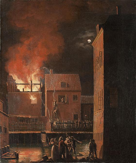 """Pehr Hilleström, """"Incendio en Roslagstorg, Estocolmo"""", ca. 1800, óleo sobre lienzo."""