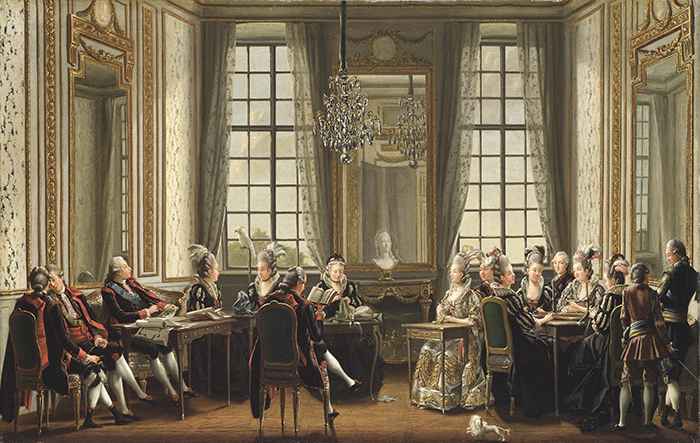 """Pehr Hilleström, """"Leyendo, en el Palacio de Drottningholm"""", 1779, óleo sobre lienzo."""