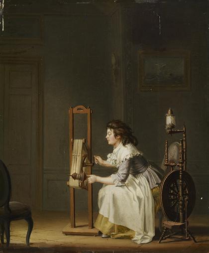 """Pehr Hilleström, """"Mujer hilando"""", 1787, óleo sobre lienzo."""