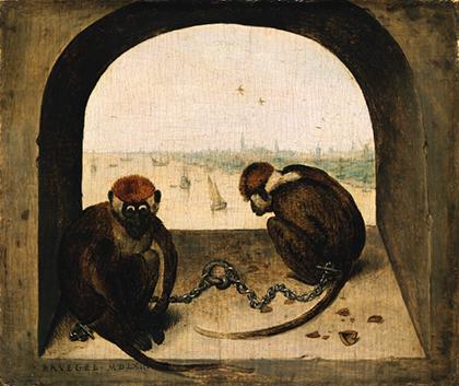 """Pieter Bruegel el Viejo, """"Dos monos encadenados"""", 1562."""