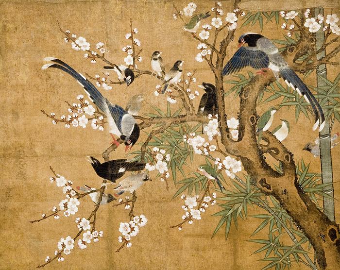 Anónimo, rollo con representación de ciruelo, bambú y pájaros, siglo XVI.