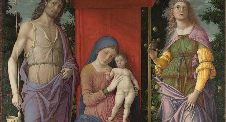 """Andrea Mantegna, """"La Virgen con el Niño y santos"""" (detalle), probablemente 1490-1505."""