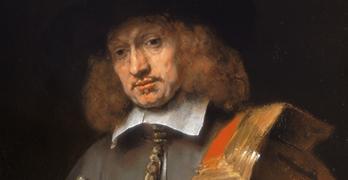 """Rembrandt Harmensz van Rijn,"""" Retrato de Jan Six"""" (detalle), 1654."""