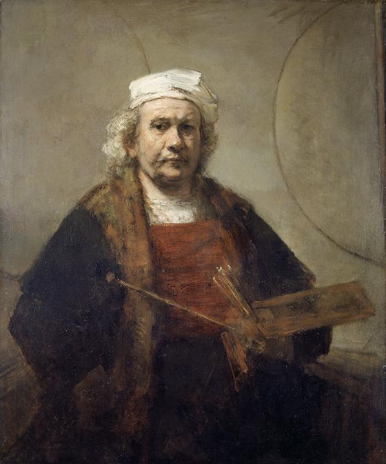 """Rembrandt, """"Autorretrato con dos círculos"""", ca. 1665-1669, óleo sobre lienzo."""