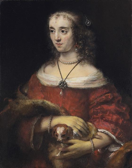 "Rembrandt, ""Retrato de una dama con perro faldero"", ca. 1662-1665, óleo sobre lienzo."