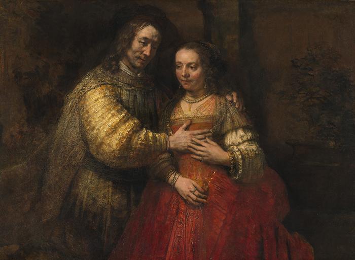 """Rembrandt, """"Retrato de una pareja como Isaac y Rebeca"""", también conocido como """"La novia judía"""", ca. 1665, óleo sobre lienzo."""