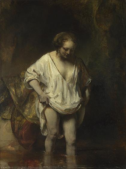 """Rembrandt, """"Mujer bañándose en un arroyo"""", 1654, óleo sobre tabla."""