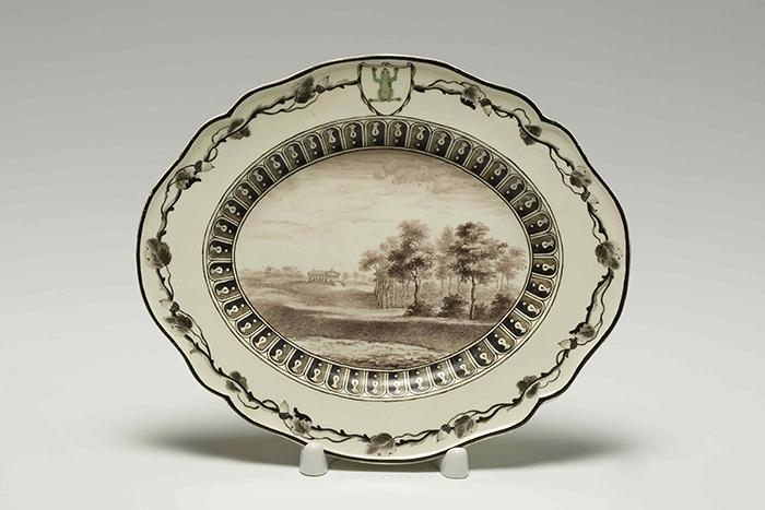 """Manufactura de Wedgwood, fuente del """"servicio de la rana verde"""", 1773-1774, loza."""