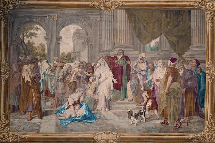 """Manufactura Real de los Gobelinos, """"Susana acusada de adulterio"""", 1726."""