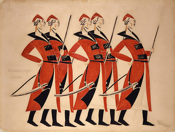 """Vladimir Tatlin, diseño de vestuario para """"Una vida por el zar"""", 1913-1915."""